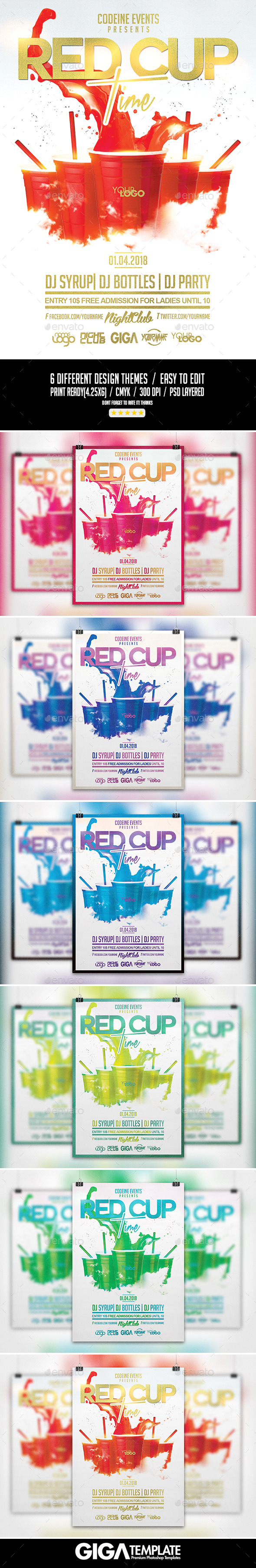 GraphicRiver Red Cup Time Party PSD Flyer Template 10841466