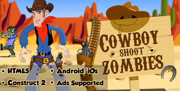 CodeCanyon Cowboy Shoot Zombies HTML5 Android CAPX 10769432