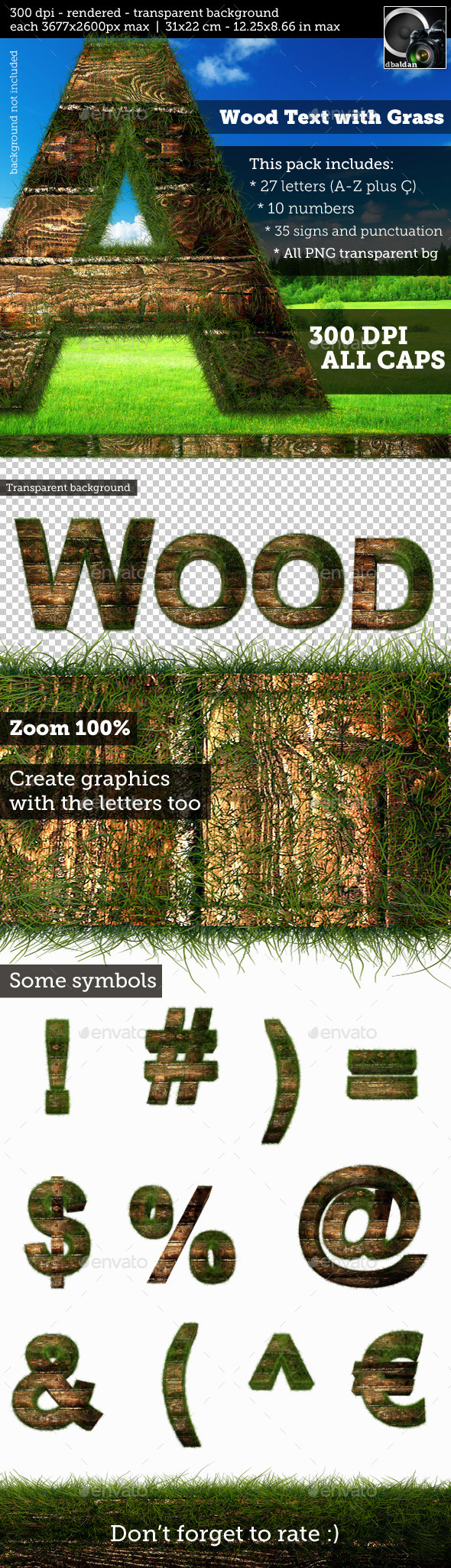 GraphicRiver Wood Text with Grass High Resolution 10841716