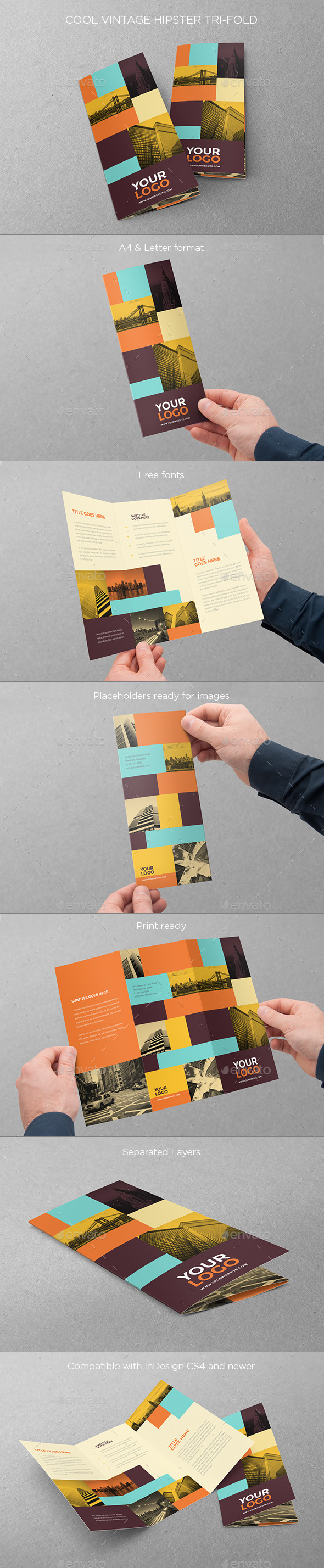 GraphicRiver Cool Vintage Hipster Trifold 10841893