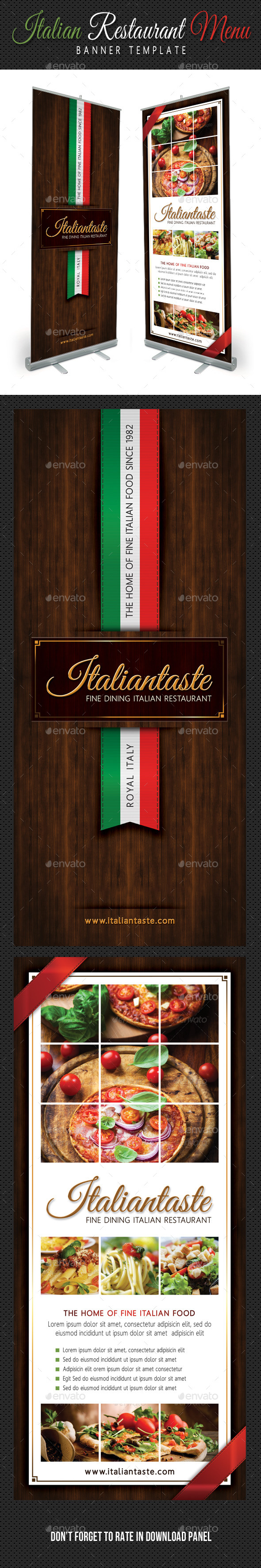 GraphicRiver Italian Restaurant Menu Banner Template 10841919