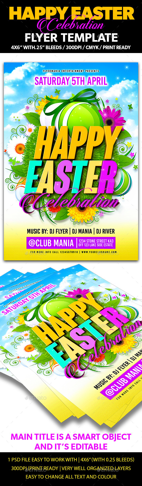 GraphicRiver Happy Easter Celebration Flyer Template 10785136