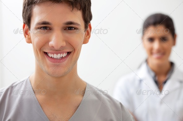 Happy male doctor - Stock Photo - Images