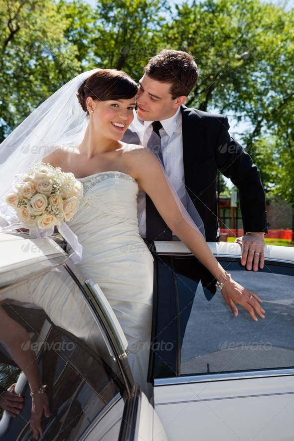 Affectionate wedding couple - Stock Photo - Images