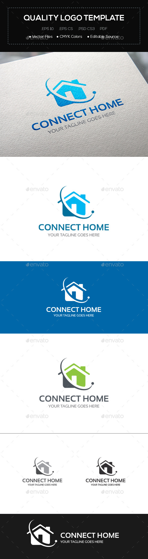 GraphicRiver Connect Home Logo Template 10842569