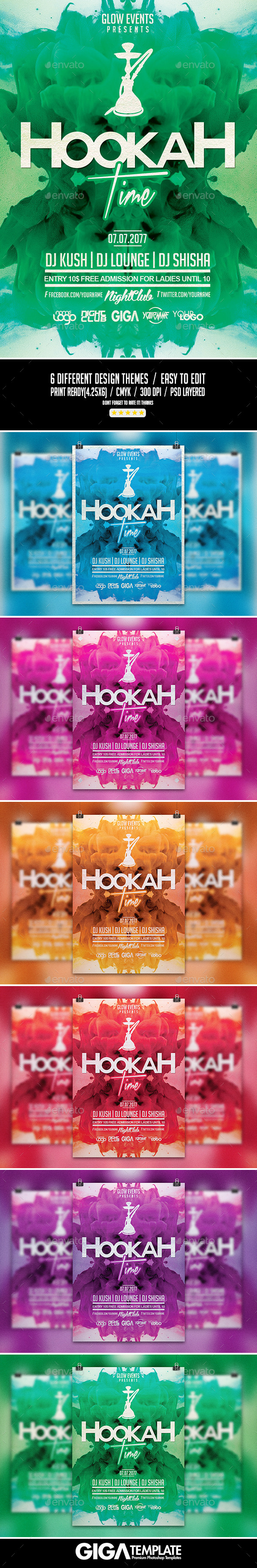 GraphicRiver Hookah Time PSD Flyer Template 10843282