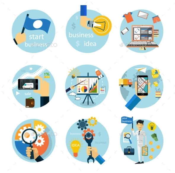GraphicRiver Icons Set for Business 10843562
