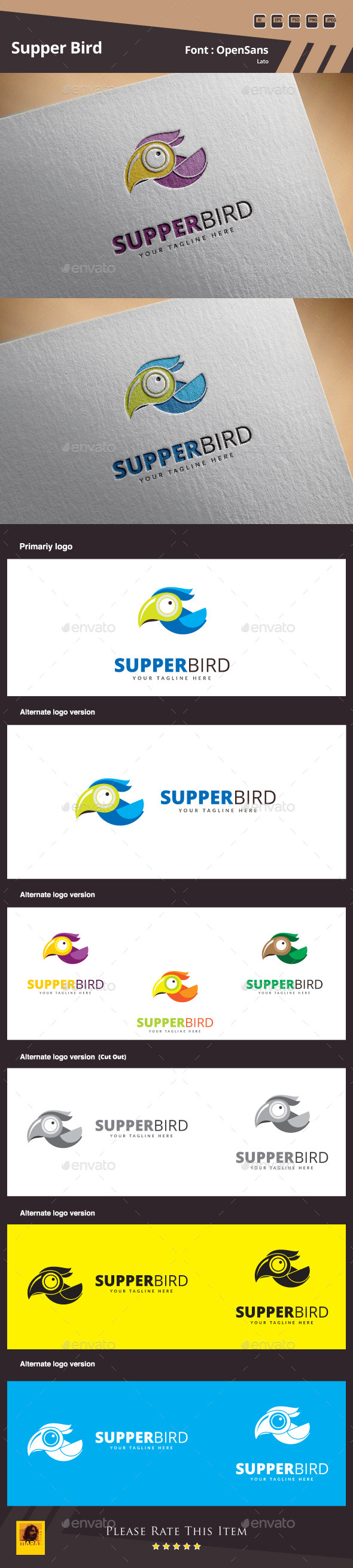 GraphicRiver Supper Bird Logo Template 10844235