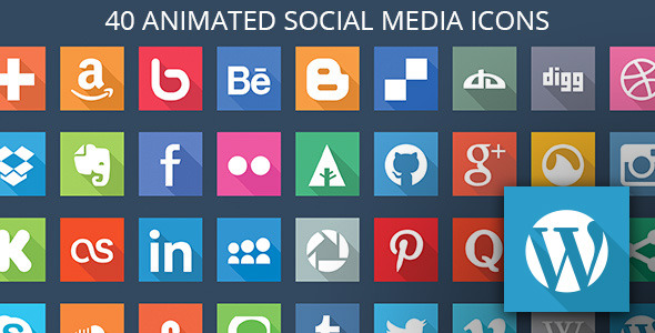 CodeCanyon 40 Animated SVG Social Media Icons for WordPress 10848198