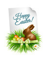Happy Easter background. Colorful easter eggs and chocolate bunny.  - PhotoDune Item for Sale