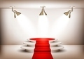 Showroom with red carpet leading to a podium and three lights. - PhotoDune Item for Sale