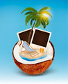 Vacation concept. Palm tree, photos and beach chair in a coconut.  - PhotoDune Item for Sale