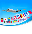 Airplane travel background with flags of different countries - PhotoDune Item for Sale