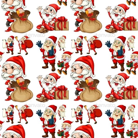 GraphicRiver Seamless Santa 10848820