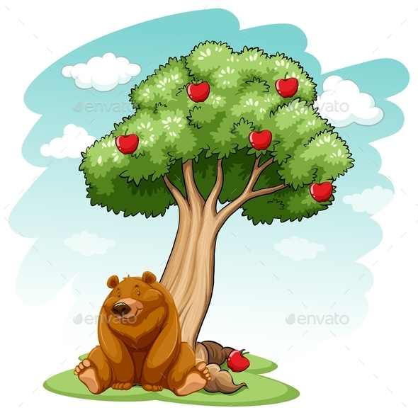 GraphicRiver Bear under the Tree 10849234