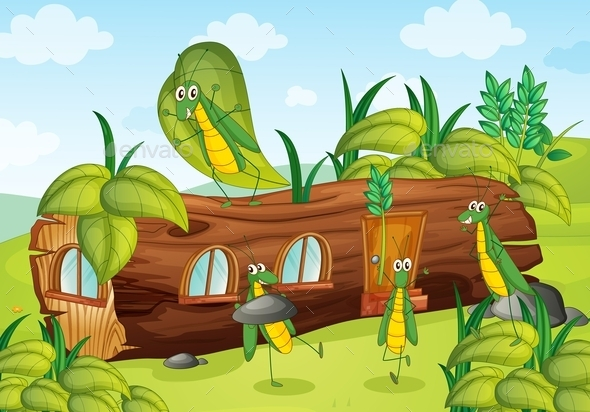 GraphicRiver Grasshopper and Wooden House 10849484