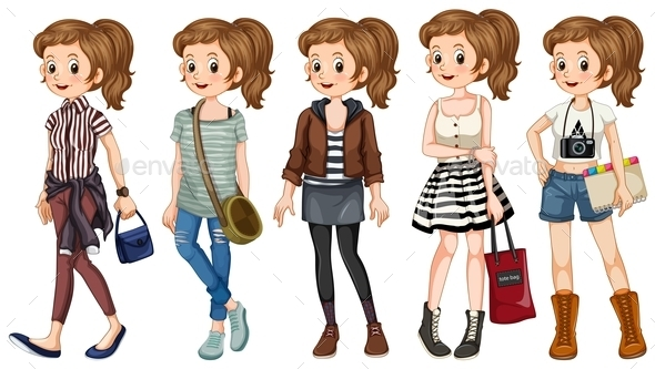 GraphicRiver Hipster Girl Set 10849502