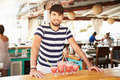 Portrait Of Man In Restaurant Making Fruit Smoothies - PhotoDune Item for Sale