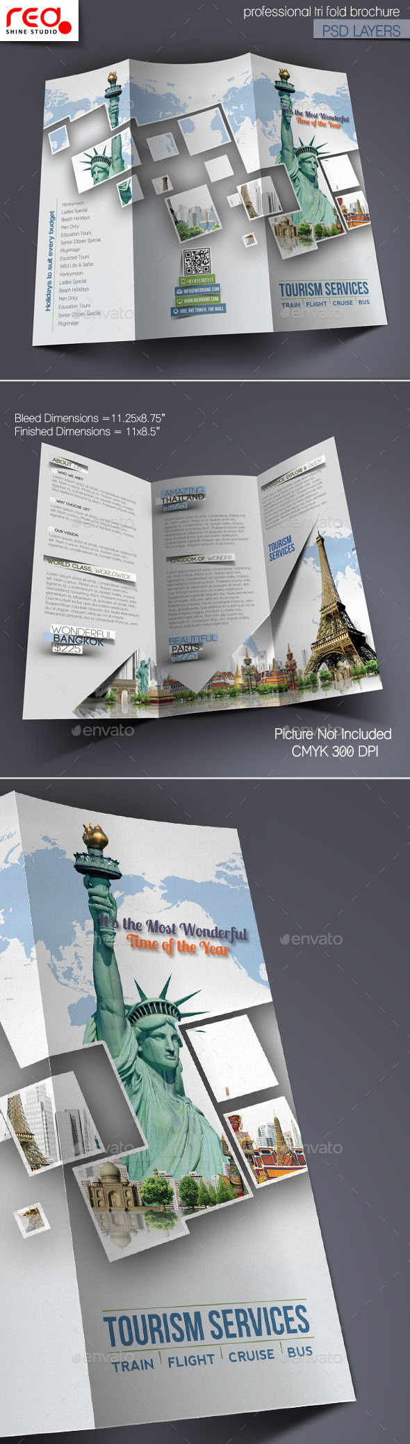 GraphicRiver Tourism Service Trifold Brochure Template 10852167