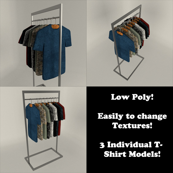 3DOcean T-Shirt Display Set Low Poly 10852420