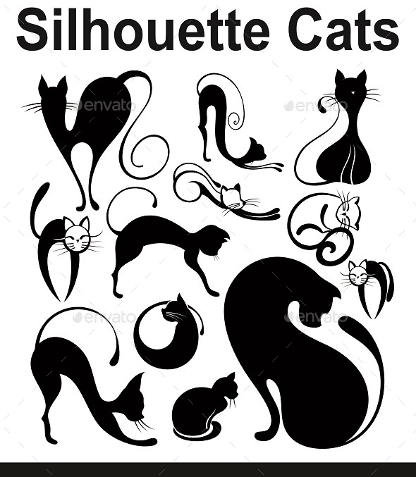 GraphicRiver Silhouette Cats 10852428