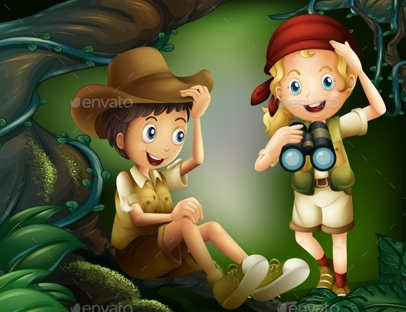 GraphicRiver Jungle with a Boy and a Girl 10852752
