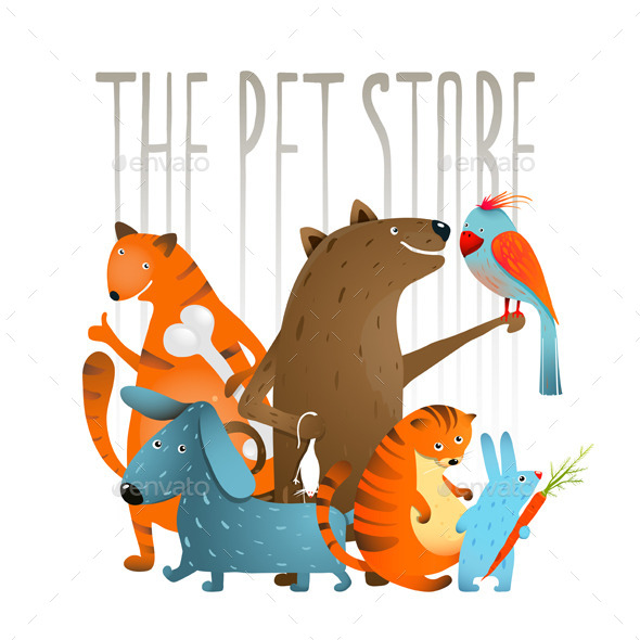 GraphicRiver Company of Cartoon Domestic Animals 10852754