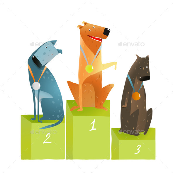 GraphicRiver Three Dogs Sitting on Podium with Medals 10852803