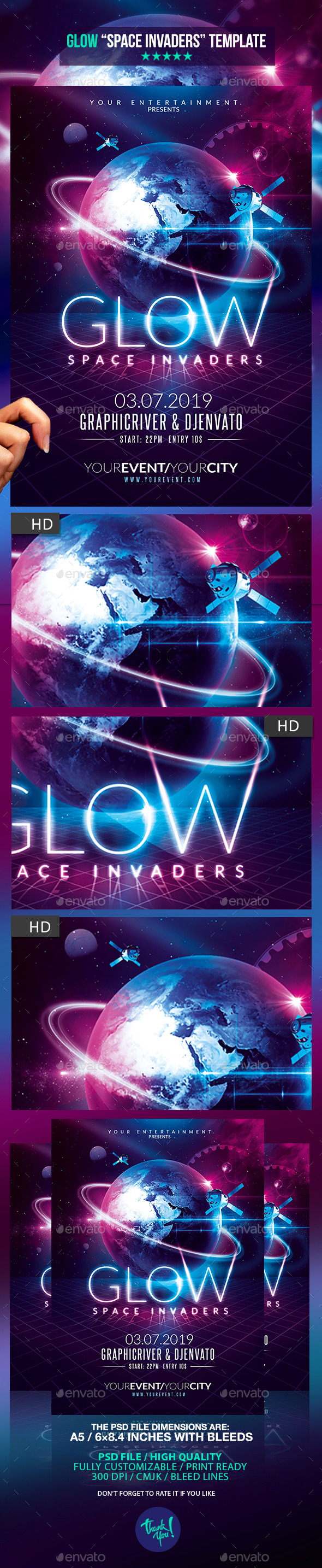 GraphicRiver Glow Party Space Invaders Template 10852804