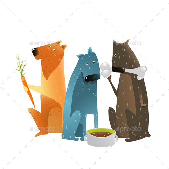 GraphicRiver Dogs Eating Different Types of Food 10852818