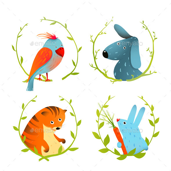 GraphicRiver Set of Cartoon Domestic Animals Portraits 10852910