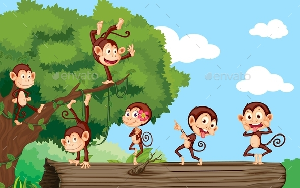 GraphicRiver Monkeys in a Park 10853071