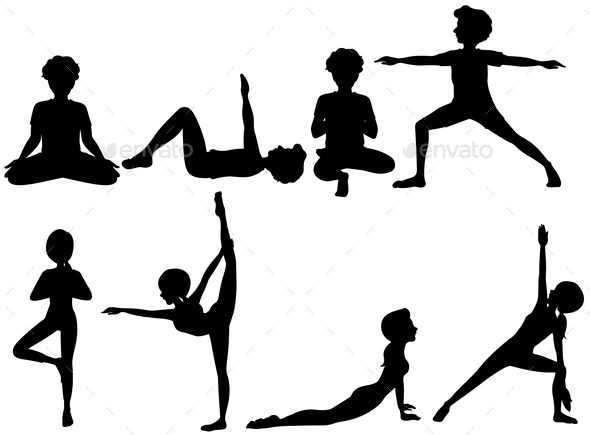 GraphicRiver Yoga Silhouettes 10853207