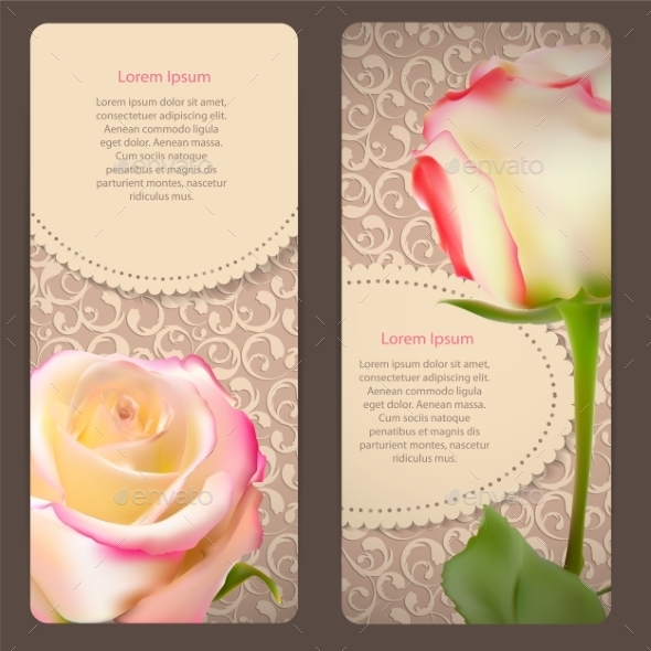 GraphicRiver Floral Cards with Rose Flowers 10853323