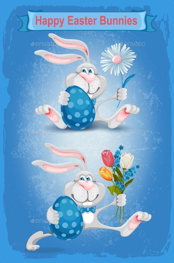 GraphicRiver Happy Easter Bunnies 10853587