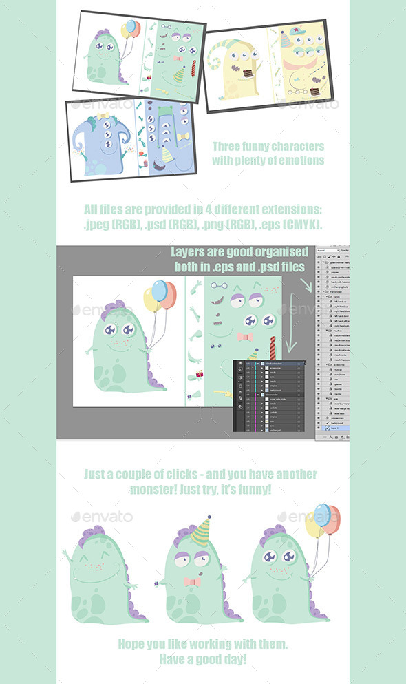 GraphicRiver Three Colored Monsters 10854032