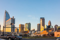 charlotte skyline at dawn hours on a spring evening - PhotoDune Item for Sale