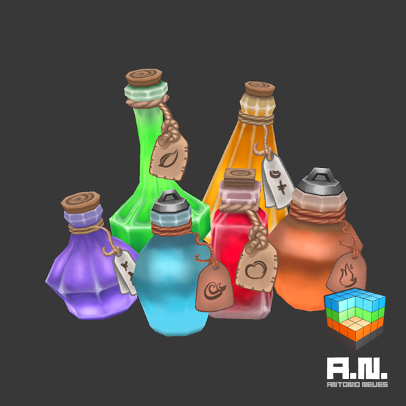 3DOcean Hand painted potions 10854691