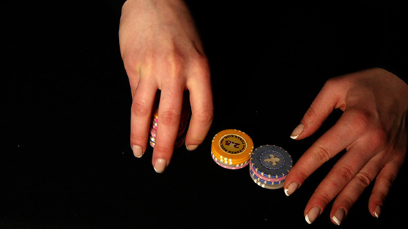 Female Hands Mixed Poker Chips