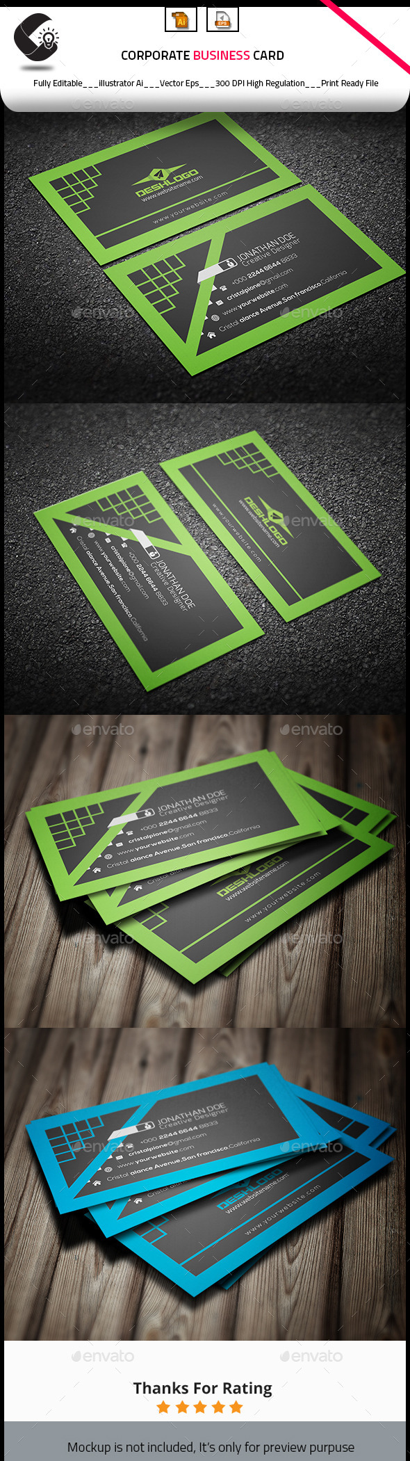 GraphicRiver Flat Business Card 10855366