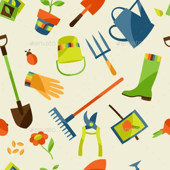 GraphicRiver Garden Tools Pattern 10855605