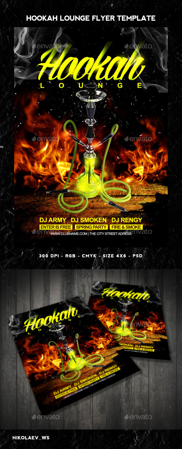 GraphicRiver Hookah Lounge Flyer 10856189