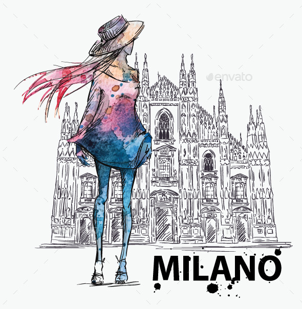 GraphicRiver Girl on a Milano Duomo Background 10856348