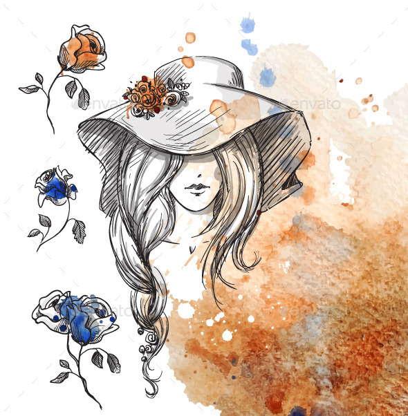 GraphicRiver Girl in a Hat on a Watercolor Background 10856386