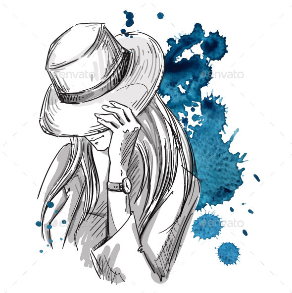 GraphicRiver Girl in Hat Looking Down 10856418