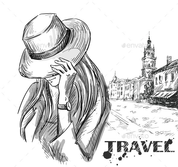 GraphicRiver Girl on an Old Town Background 10856448