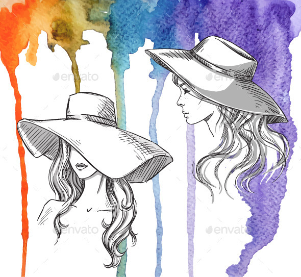 GraphicRiver Girls in Hats on a Watercolor Background 10856489