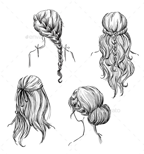 GraphicRiver Set of Different Hairstyles 10856528