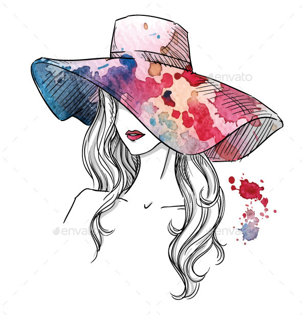 GraphicRiver Sketch of a Girl in a Hat 10856646