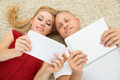 Happy Couple With Digital Tablets - PhotoDune Item for Sale
